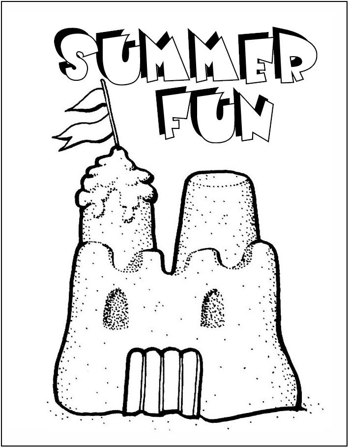 Sand Castle Coloring Page Coloring