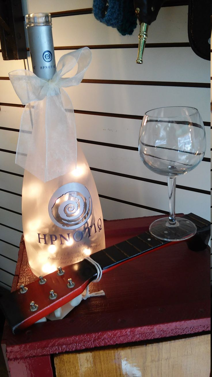 Ships Free! Elegant Lighted Glass HPNOTIQ Liqueur Bottle Table Top Lamp with Ribbon. Beautiful Bathroom, Bar, Kitchen, Home Lighting Decor. by TheRustyBucketVT on Etsy