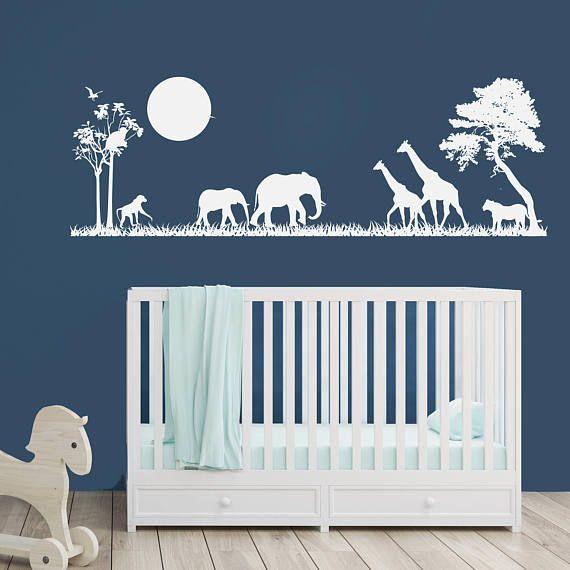 Safari Silhouette Nursery Decor  Vinyl Wall Decal Boys room