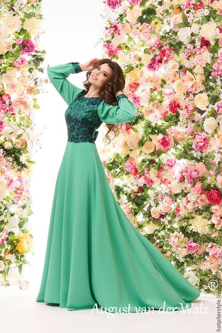 Купить Мятное женственное платье в макси длине - платье на выпускной - однотонный, модное платье