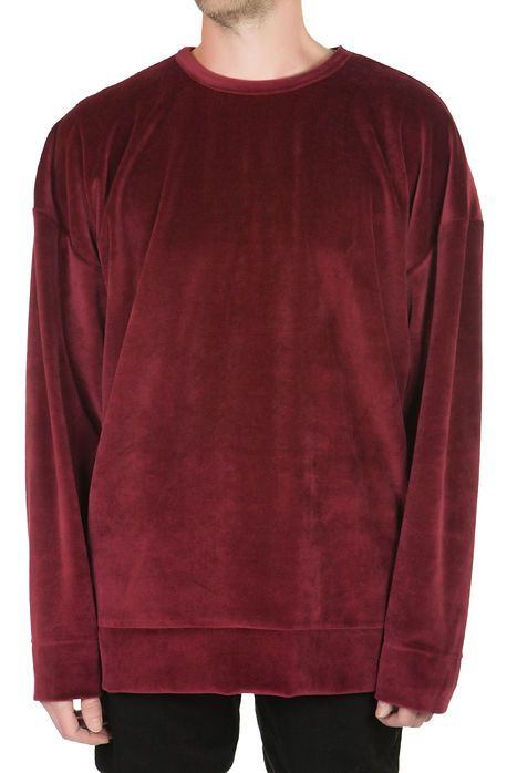 enslaved Sweatshirt Velour Oversized Crewneck Burgundy Red