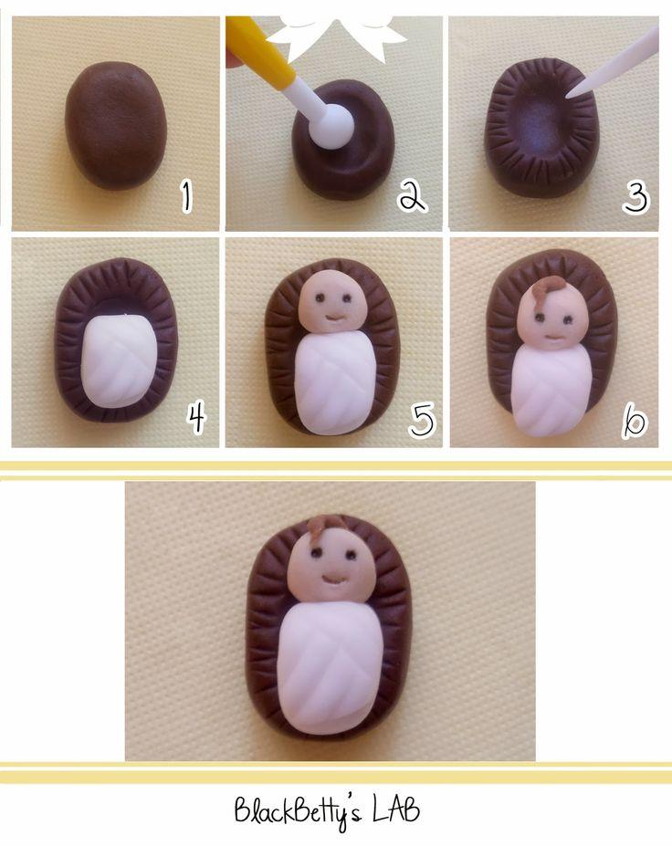 Tutorial Presepe in pasta di zucchero - Gesù bambino