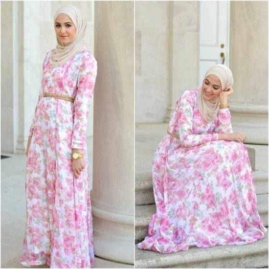 floral maxi pink dress leena asad, Classy hijab outfits http://www.justtrendygirls.com/classy-hijab-outfits/