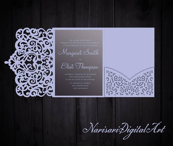 Tri-Fold Ornamental 5x7 Wedding Invitation Pocket Envelope SVG Template, Quinceanera invite, laser cut file, Silhouette Cameo, Cricut
