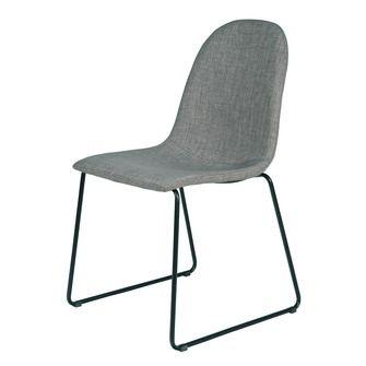 WOOOD stoel Cooper per 2 stuks metaal en grijs gestoffeerd | Eetkamerstoelen | Stoelen & krukken | Meubelen | KARWEI