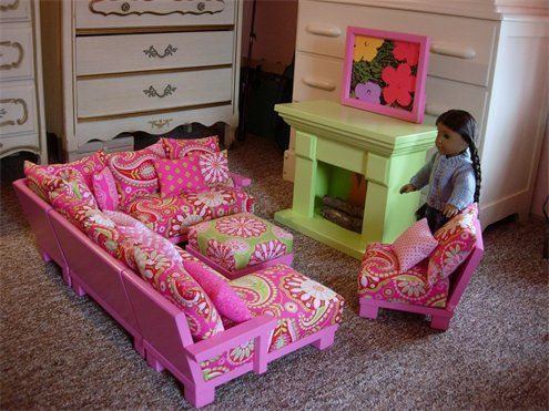 Cute living room set for American Girl Dolls with sectional couch