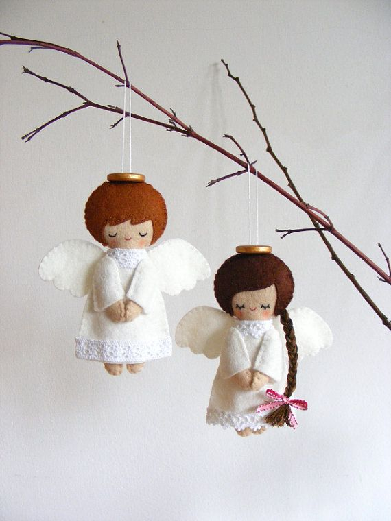PDF pattern - Felt angels. Christmas tree ornaments, boy and girl angels, easy sewing pattern, angel softies                                                                                                                                                                                 Más