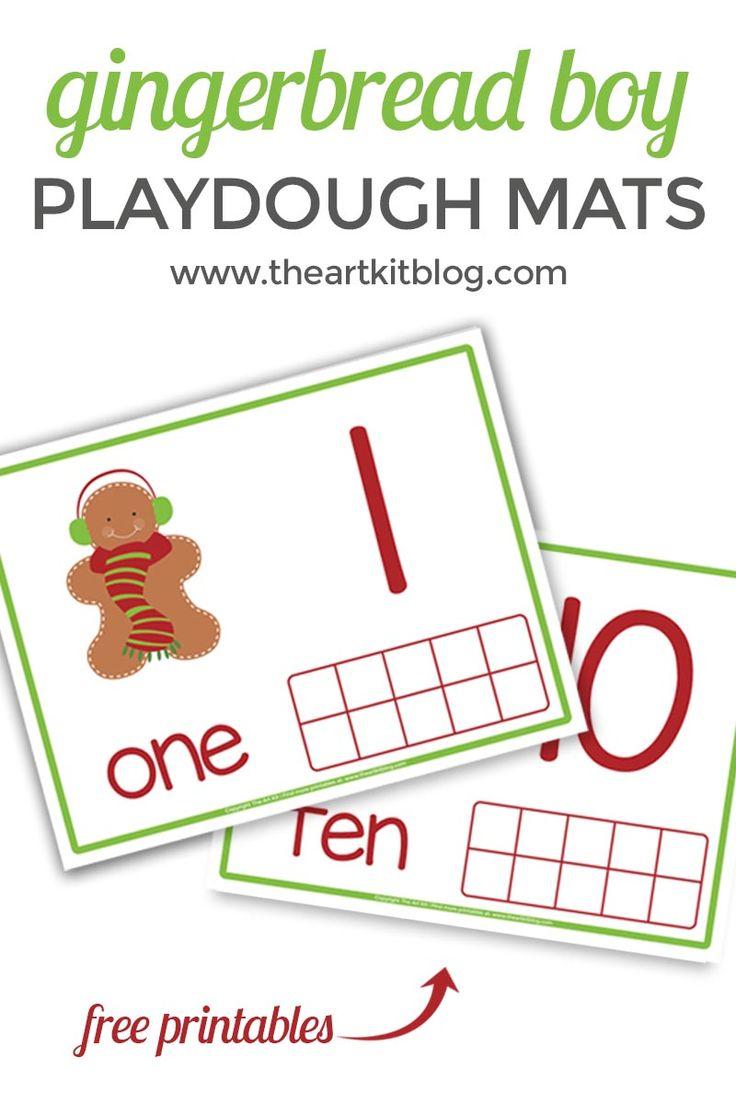 Gingerbread Boy Playdough Mats – Fun Counting Activity {FREE Printables!} via @theartkit