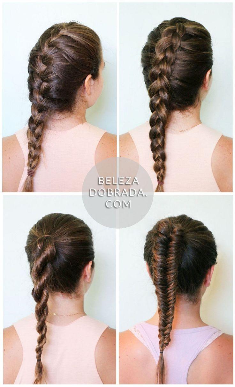 4 ideias de penteados: trança embutida, invertida, trança-corda e escama de peixe.  French braid, Dutch braid, Rope braid and Fishtail braid