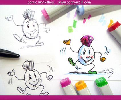 Comic - die Kunst der reduzierten Ausdrucksform. Spezialstifte wie Copic Marker oder die neuen Molotow Sketcher eignen sich hervorragen für diese Technik. Workshops auf Anfrage unter www.connywolf.com