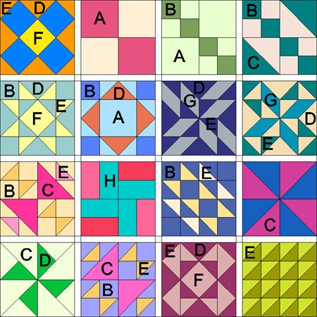 Multiple simple quilt block patterns quilts, tutorials and patterns Pinterest