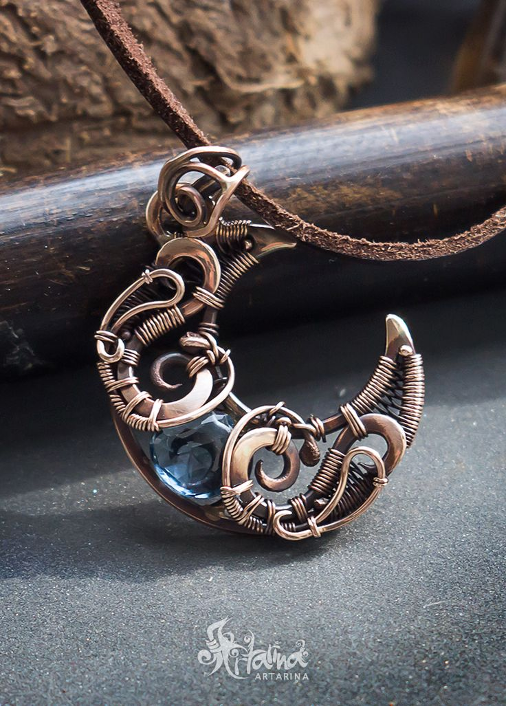 Wiccan moon pendant. Wire wrapped moon pagan jewelry magic witch. Bronze moon teal blue qartz.