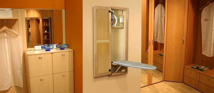 Recessed In Wall Ironing Board Cabinet With Swivel Ironing