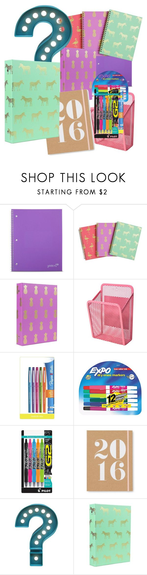 """""""School supplies"""" by gigicr ❤ liked on Polyvore featuring Yoobi, Paper Mate, Expo, Pilot, Sugar Paper, Room Essentials, women's clothing, women's fashion, women and female"""