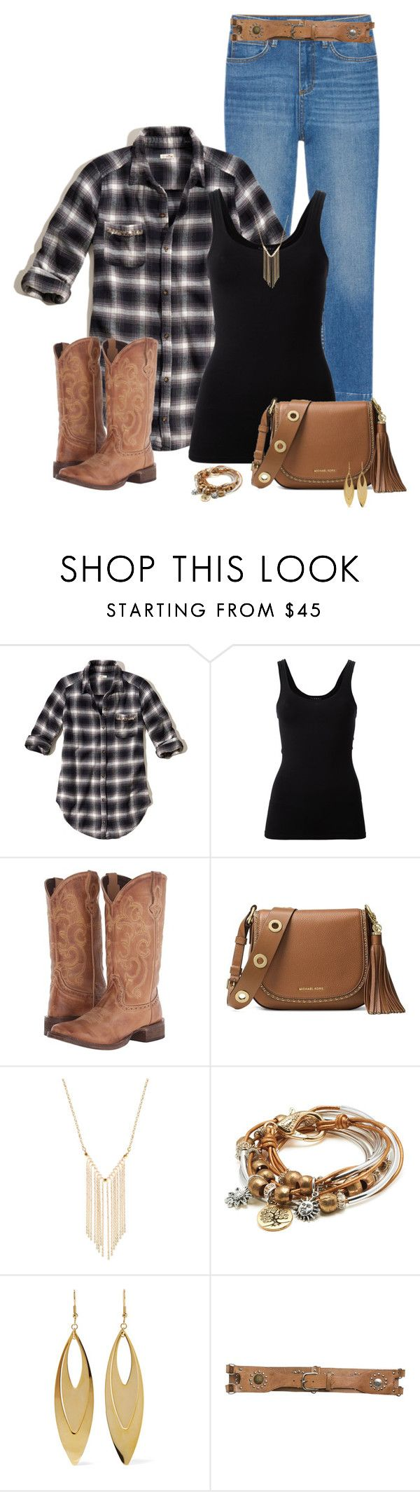 """Casual Western"" by mandeerose ❤ liked on Polyvore featuring Hollister Co., Theory, Roper, MICHAEL Michael Kors, Gemelli, Lizzy James and Kenneth Jay Lane"