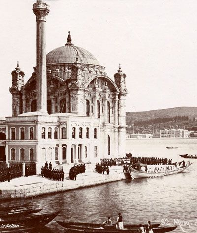 the selamlik in the Ottoman Capital of Istanbul (Constantinople). A rare occasion for citizens and visiting westerners to catch a glimpse of the secluded Monarch and Khalife. From this capital he ruled over an extensive, though slowly shrinking and discontented, empire in Asia that included Syria (Aleppo, Damascus, Mont-Liban, Palestine, Jordan), Mesopotamia, Hejaz, Yemen, Egypt, and north Africa.Sultan abdul-Azziz), went by Imperial boat to the Ortaköy camii (mosque) on the Bosphorus…