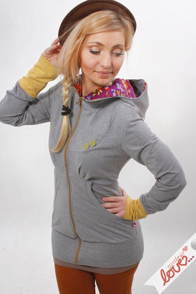 """Sweat hoodie """"Elisa"""" Graumelliert Fiori colorati - un prodotto unico di mydearlove su DaWanda"""