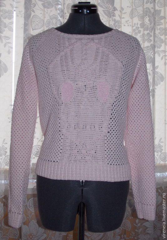 Купить Пуловер - бледно-розовый, орнамент, хенд-мейд, вязаный свитер, розовый пуловер