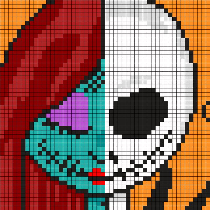Jack and Sally - Nightmare Before Christmas Perler Bead Pattern