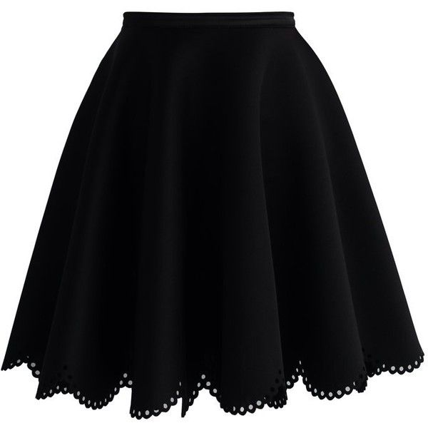 Chicwish Petal Airy Skater Skirt in Black (£34) ❤ liked on Polyvore featuring skirts, bottoms, saias, black, cut out skirt, black circle skirt, black skater skirt, black knee length skirt and black flared skirt