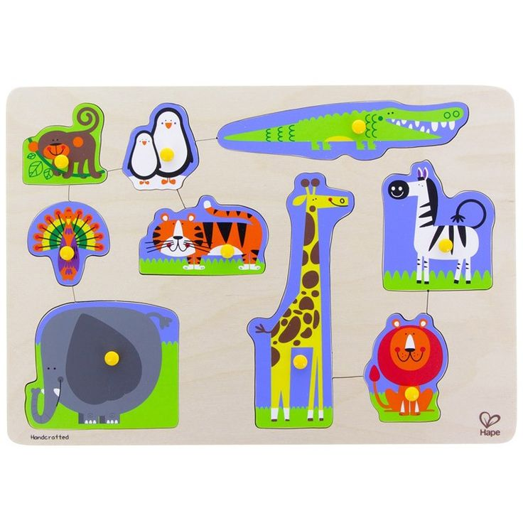 Nine friendly zoo animals will gladly play with your toddler or preschool child as they put this Hape peg puzzle together. Manufactured by Hape.