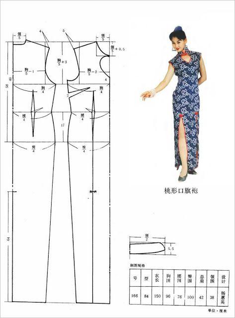 Oriental Dress Pattern - Could be resized to fit Barbie - Mod@ en Line@.