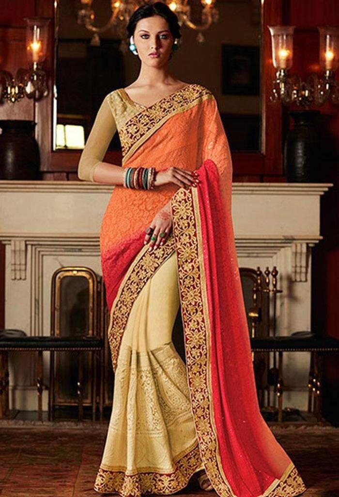 Orange Designer Saree Made with Raw Silk and Georgette..@ fashionsbyindia.com #designs #indian #fashion #womens #style #cloths #clothes #stylish #casual #fashionsbyindia #punjabi #suits #wedding #saree #chic #elegance #beauty #outfits #fantasy #embroidered #dress #PakistaniFashion #Fashion #Longsuit #FloralEmbroidery #Fashionista #Fashion2015 #IndianWear #WeddingWear #Bridesmaid #BridalWear #PartyWear #Occasion #OnlineShopping #sari