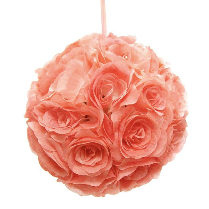 Flower Kissing Balls Wedding Centerpiece, 10-inch, Coral
