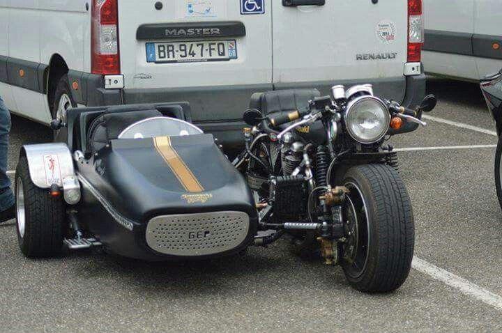 custom motorcycle & sidecar (japanese 4-cylinder engine)