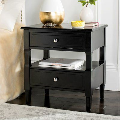 Latitude Run Jerry 2 Drawer Nightstand Color: Black