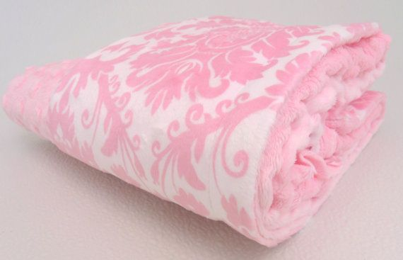 Pink Damask Minky Baby Blanket also available in by MinkyBabyGifts