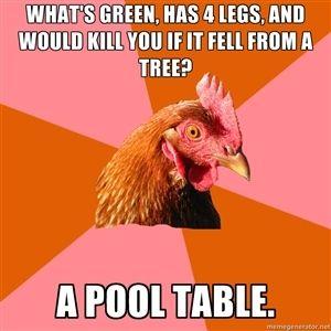 Anti Joke Chicken>>>i was thinking frog...which would make no sense...