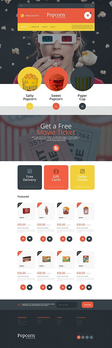 Popcorn Online Store #OpenCart #webtemplate #themes #business #responsive #template