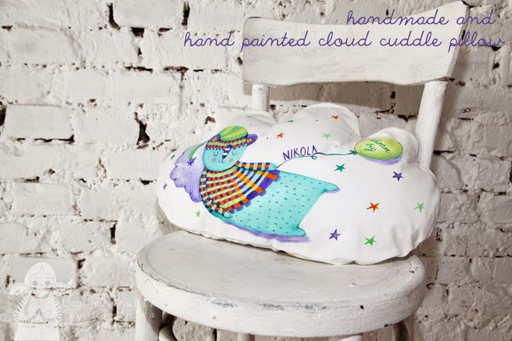 Hand painted and handmade cloud cuddle pillow by Dominika Bozic
