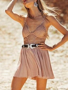 Shop Nude Pink Lace Bralette Top Cross Back Pleated Skater Dress from choies.com .Free shipping Worldwide.$29.69
