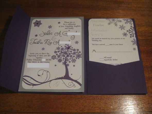 Our Purple Snowflake Invites   Weddingbee DIY Projects
