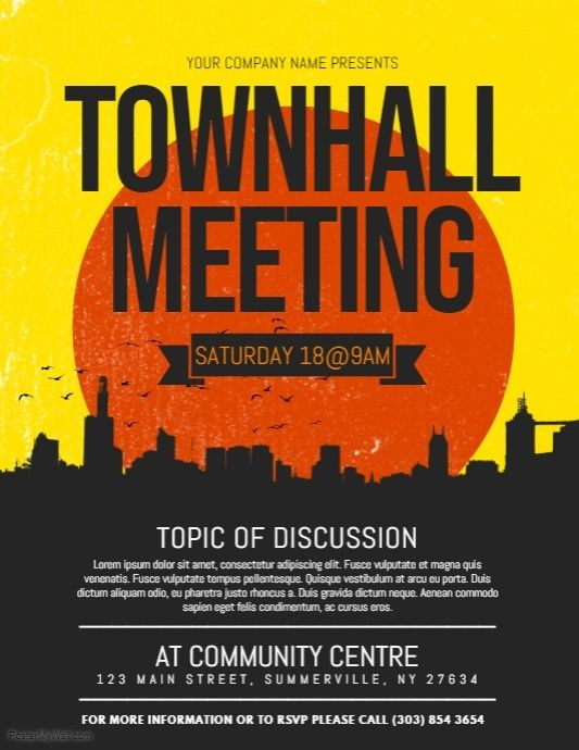 townhall meeting flyer postermywall pinterest poster