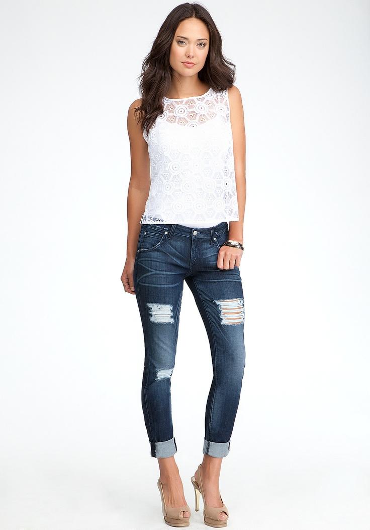 bebe Blue Skinny Boyfriend Jeans - love these!!