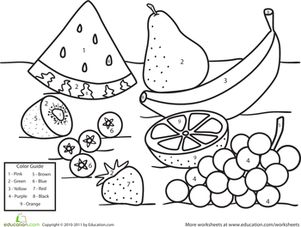 Preschool Kindergarten Color by Number Counting & Numbers Worksheets: Color by Number Fruit