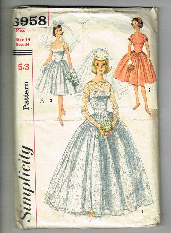 60s wedding dress 50s wedding dress Vintage by Thecuttingcloth