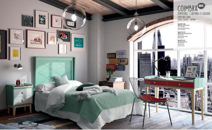 Dormitorio Juvenil. Clásico / Vintage en verde y rojo. Para ambientes originales