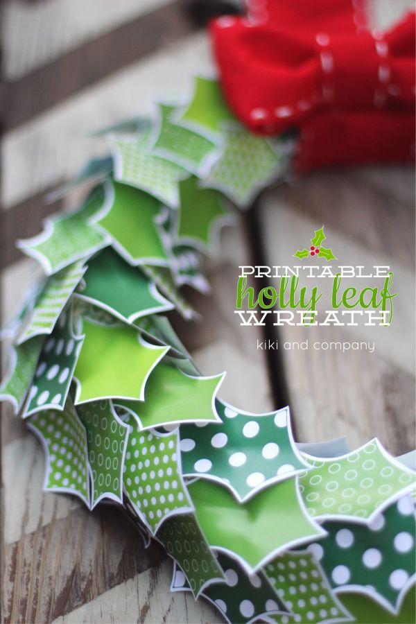 Free Printable Holly Leaf Wreath at Kiki and Company!