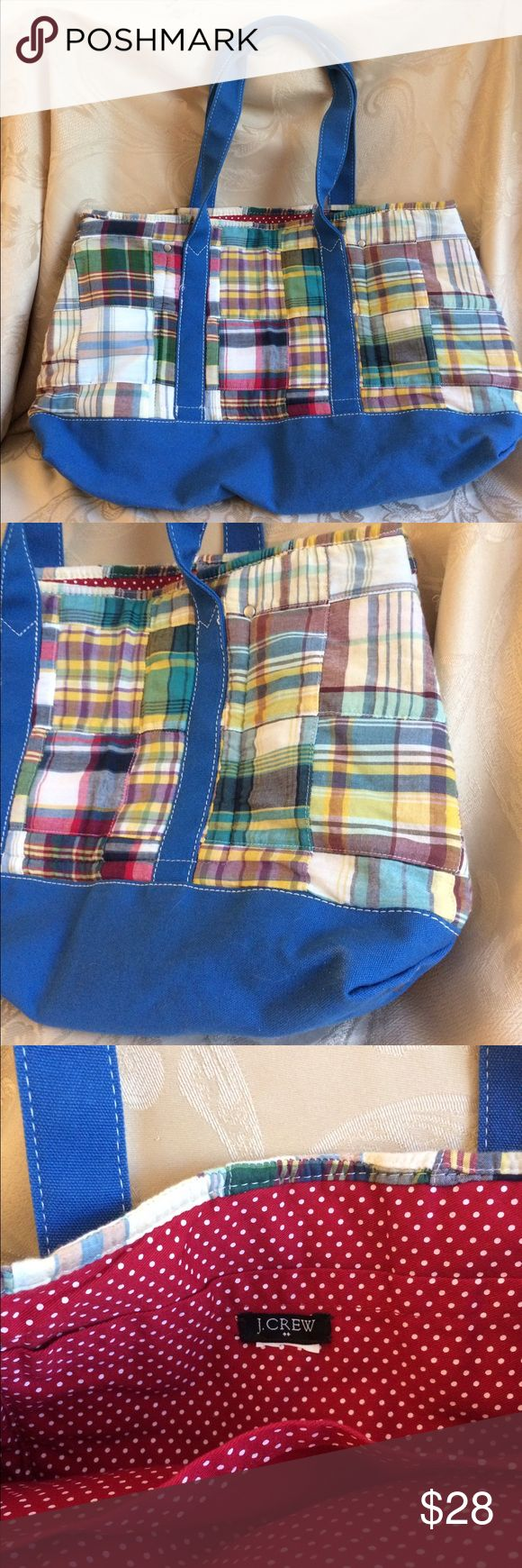 J Crew Tote Bag Cute Madras JCrew Tote Bag*Great for beach or pool. Excellent Condition. No rips or tears. J. Crew Bags Totes