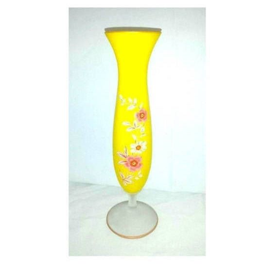 Vintage Transferware Vase #etsy shop: Vintage Yellow Satin Glass Vase,Yellow Wildflowers,Transferware,Floral Transfer Vase,Footed White Glass,Yellow Frosted Glass,Pink,Yellow http://etsy.me/2iyv0dP #housewares #vase #yellow #wedding #weddingcenterpiece