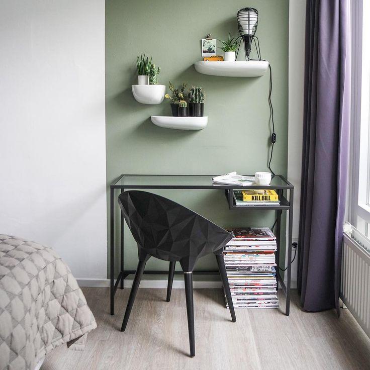 Mooi hu00e8? Ik ben zeer content met de vergrijsd groene verf op de muur ...