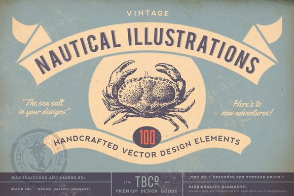 100 Vintage Nautical Illustrations by The Beacon Collection on Creative Market