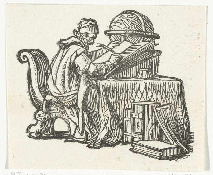 Dirck de Bray | Geograaf, Dirck de Bray, 1635 - 1694 | Een geograaf zit aan een groot bureau en schrijft in een boek dat voor hem op een voetstuk staat. Op de tafel staat ook een wereldbol en op de grond liggen boeken.
