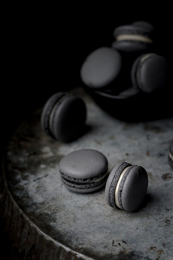 black macaron with white chocolate & black cherry