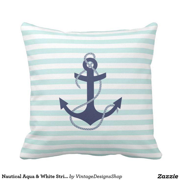 Navy Blue Anchor Throw Pillow