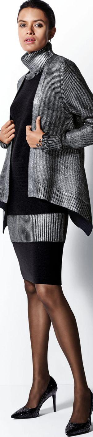 Madeleine Cardigan in Black/Silver
